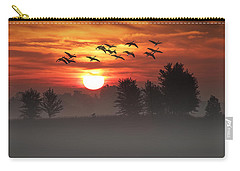 Geese On A Foggy Morning Sunrise Carry-all Pouch