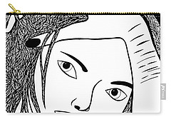 Carry-all Pouch featuring the drawing Genuine Scars by Jamie Lynn