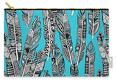 Geo Feathers Turquoise Blue Carry-all Pouch