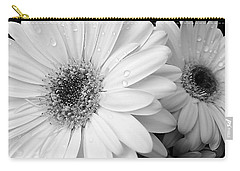 Gerber Daisies In Black And White Carry-all Pouch by Jennie Marie Schell