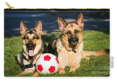 Carry-all Pouch featuring the photograph German Shepherd Sisters by Eleanor Abramson