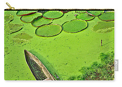 Giant Water Lilies And A Dugout Canoe In Amazon Jungle-peru Carry-all Pouch