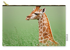 Giraffe Lying In Grass Carry-all Pouch by Johan Swanepoel