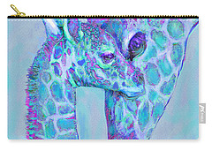 Carry-all Pouch featuring the digital art Giraffe Shades  Purple And Aqua by Jane Schnetlage