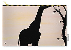 Giraffe Silhouette Painting By Carolyn Bennett Carry-all Pouch