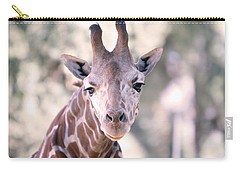 Carry-all Pouch featuring the pyrography Giraffe Staring  by Shoal Hollingsworth