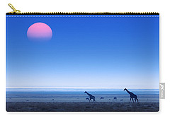 Giraffes On Salt Pans Of Etosha Carry-all Pouch by Johan Swanepoel