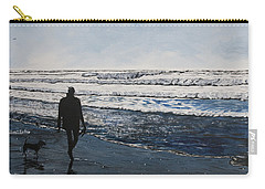 Girl And Dog Walking On The Beach Carry-all Pouch