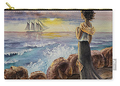 Carry-all Pouch featuring the painting Girl And The Ocean Sailing Ship by Irina Sztukowski