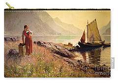 Girl By The Shore Of A Lake Carry-all Pouch by Pg Reproductions
