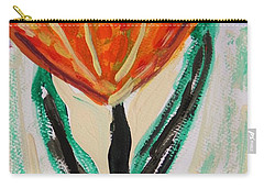 Carry-all Pouch featuring the painting Girl-flowers From The Flower Patch by Mary Carol Williams