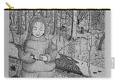 Carry-all Pouch featuring the drawing Girl In The Forest by Daniel Reed