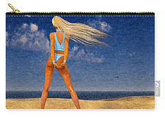 Girl On The Beach...watercolor Effected Carry-all Pouch