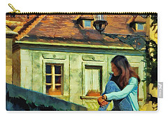 Girl Posing On Stone Wall Carry-all Pouch by Jeff Kolker