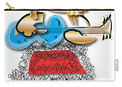 Carry-all Pouch featuring the digital art Girl Rocker 6 String Guitar by Marvin Blaine