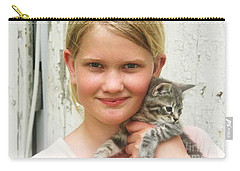 Girl With Kitten Carry-all Pouch