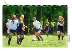 Girls Playing Soccer Carry-all Pouch by Susan Savad