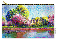 Carry-all Pouch featuring the painting Glastonbury Abbey Lily Pool by Jane Small