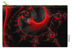 Glowing Red And Black Abstract Fractal Art Carry-all Pouch by Matthias Hauser