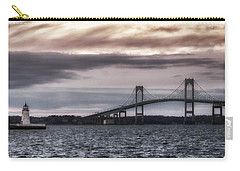 Goat Island Lighthouse And Newport Bridge Carry-all Pouch by Joan Carroll
