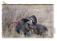 Carry-all Pouch featuring the photograph Gobbling Turkeys by Michael Chatt