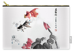 Gold Fish In Lotus Pond Carry-all Pouch by Yufeng Wang