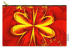 Gold Flowers Carry-all Pouch by Lena Auxier