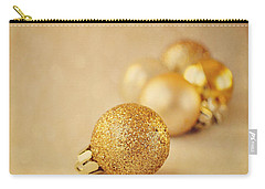 Gold Glittery Christmas Baubles Carry-all Pouch by Lyn Randle
