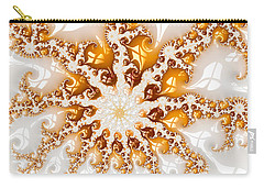 Golden Brown And White Luxe Abstract Art Carry-all Pouch