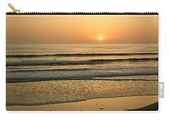Golden California Sunset - Ocean Waves Sun And Surfers Carry-all Pouch by Georgia Mizuleva