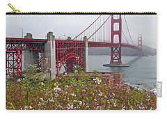 Golden Gate Bridge And Summer Flowers Carry-all Pouch