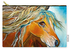 Carry-all Pouch featuring the painting Golden Horse by Jenny Lee