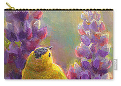 Golden Light 1 Wilsons Warbler And Lupine Carry-all Pouch