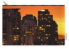 Carry-all Pouch featuring the photograph Golden Orange Cityscape Dccc by Amyn Nasser