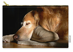 Golden Retriever Dog With Master's Slipper Carry-all Pouch by Jennie Marie Schell