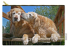 Golden Retriever Dogs The Kiss Carry-all Pouch by Jennie Marie Schell
