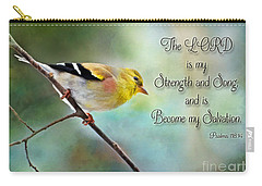 Goldfinch With Rosy Shoulder - Digital Paint And Verse Carry-all Pouch by Debbie Portwood