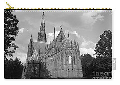 Carry-all Pouch featuring the photograph Gothic Church In Black And White by John Telfer