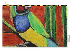 Carry-all Pouch featuring the painting Gouldian Finch by Jeanne Fischer