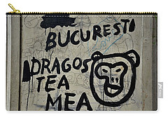 Carry-all Pouch featuring the photograph Graffiti On Street From Bucharest Romania by Imran Ahmed