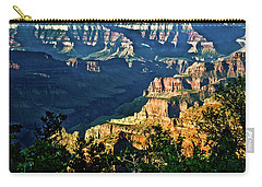 Carry-all Pouch featuring the photograph Grand Canyon  Golden Hour On Angel Point by Bob and Nadine Johnston