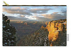 Grand Canyon. Winter Sunset Carry-all Pouch by Ben and Raisa Gertsberg
