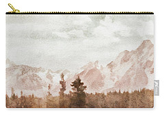 Carry-all Pouch featuring the painting Grand Teton Mountains by Greg Collins