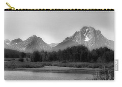 Carry-all Pouch featuring the photograph Grand Tetons Bw by Ron White
