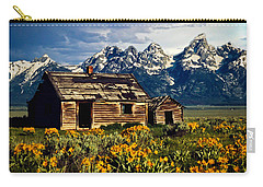 Carry-all Pouch featuring the photograph Grand Tetons Cabin by John Haldane