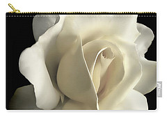 Grandeur Ivory Rose Flower Carry-all Pouch by Jennie Marie Schell