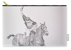 Graphite Drawing - Shooting For The Polo Goal Carry-all Pouch