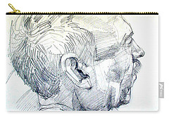 Graphite Portrait Sketch Of A Man In Profile Carry-all Pouch