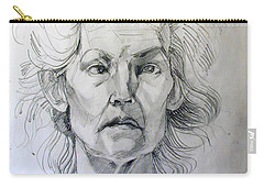 Graphite Portrait Sketch Of A Well Known Cross Eyed Model Carry-all Pouch