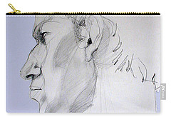 Carry-all Pouch featuring the drawing Graphite Portrait Sketch Of A Young Man In Profile by Greta Corens
